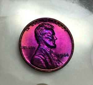 Lincoln Wheat Cent 1944 BU Monster rainbow TONED US Coin