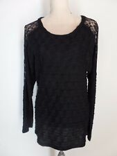 New Boutique A'reve Black Acrylic Wave Knit Lace Insert Tunic Sweater   L