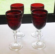 "Arcoroc Luminarc Wine  Goblets Cristal D'Arques ""Antique Ruby"" Red France  4 pcs"