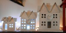 3 Beautiful Stacking Wonderland Papier Mache Sparkley Houses Staring At 14 In