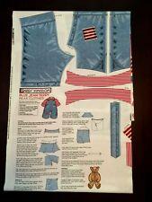"Daisy Kingdom Blue Jean Teddy Bear Clothes Cotton Panel Fits Most 22"" Bears Vtg"
