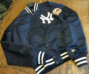 VTG 1980s RARE MLB NEW YORK YANKEES STARTER SATIN BASEBALL JACKET MEN L SNAP USA