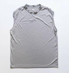 Nike Workout Shirt Men's Medium Gray Sleeveless Center Swoosh FIT DRY Activewear