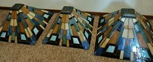 Tiffany Style Stained Lampshade Set of 3 Heavy Beautiful Dark & Light Blue Green