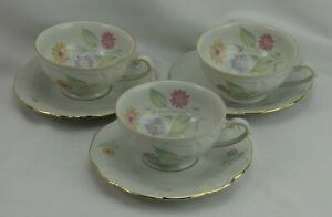 Winterling Bavaria Germany Floral Gold Trim Tea Cup Saucers Set 3