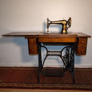 Stunning 1910 Singer Model 27 Sphinx Sewing Machine in Original Cabinet Table