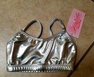 Natalie Dancewear Child Size 6-7 Metallic Silver Top NWT