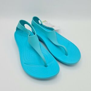 CROCS Women's Serena Thong Flip Flops Sandal Size 7 Blue Rubber Water Sandals
