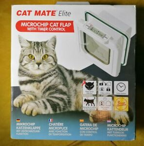 Cat Mate Elite Chip Disc Cat Flap with Electronic Timer Control White Cat Door.