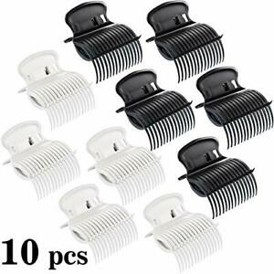 10 Pieces Hot Roller Clips Hair Curler Claw Clips Replacement (White,Black)