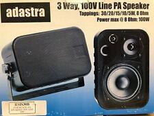 ADASTRA PAIR BLACK PA SPEAKERS 100V LINE 30W