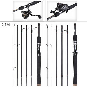 Travel Telescopic Fishing Rod Hard Carbon Fiber Spinning / Casting Fishing Pole