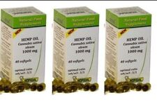 3 X 40 SOFT GEL HEMP OIL CAPSULES 1000 mg PURE COLD PRESSED OIL FREE SHIPPING