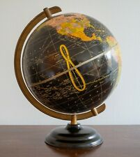 Mid Century Cram's 10 1/2� Starlight Globe Art Deco Streamlined Base Black Seas