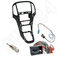 Opel Astra J Doppel-DIN Autoradio Radioblende schwarz+ISO KFZ Adapter Einbauset