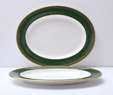 """(2) Spode China Ashdown 15"""" Oval Serving Platters Plates Green Gold - Set of 2"""