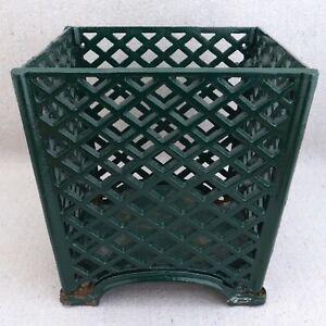 "Antique French Green Enamel Painted Cast Iron Lattice Treillage Planter Pot 7"""