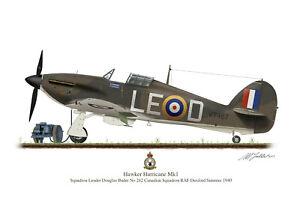 Hawker Hurricane Aircraft Profile Artwork Douglas Bader A4 / A5 Print WW2