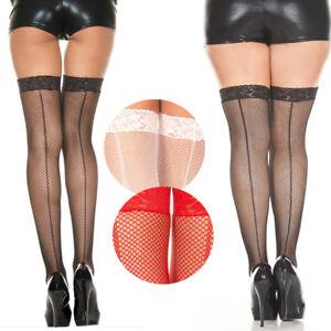 Sheer Thigh Hi Fishnet Stockings Backseam Lace Top Retro Pinup Bridal Burlesque