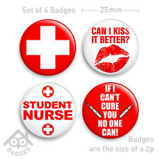 "Nurse Fancy Dress Badge Student Nurse Sexy -1"" Badge x4 Badges NEW"