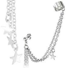 1-20 Gauge Clear CZ Stud Chain Earring with Star Dangles and End Clip A99