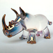 Rhino Rhinoceros Figurine Blown Glass Crystal Sculpture