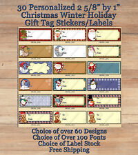 """30 Peel & Stick 2 5/8"""" by 1"""" Holiday Christmas Winter Gift Tags"""