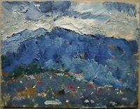 Russian Ukrainian Soviet Oil Painting impressionism landscape mountains cloud