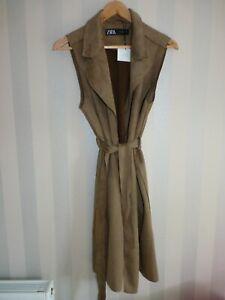 Zara M Ladies Brown Faux Suede Sleeveless Cream Jacket Belted Gilet Medium
