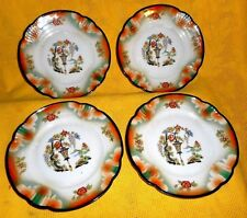 "4 ANTIQUE GERMAN GERMANY LUSTERWARE? ART DECO 6"" DESSERT PLATES BLACK RIM"