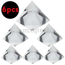 6Pack 1.6inch Crystal Pyramid Egypt Egyptian Clear Quartz Stone Desk Decor Gift