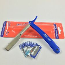 Straight Edge Barber Razor Folding Shaving Knife Blue Shavette & 10 Blades
