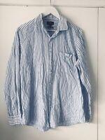 Rodd and Gunn mens shirt size M Blue White Striped Dress Long Sleeve Button Down