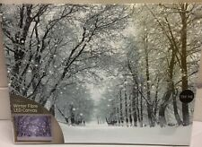 WINTER CHRISTMAS SNOW STREET BLACK&WHITE LED LIGHT UP CANVAS PICTURE 30CM X 40CM