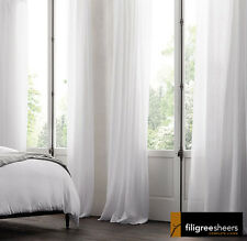3 metre WIDE x 3 m Drop Beautiful Sheer White Curtain Voile Fabric-Continuous