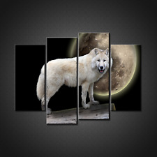 WHITE WOLF MOON CANVAS PRINT PICTURE WALL ART HOME DECOR FREE DELIVERY SET OF 4