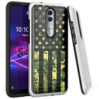 Silver Combat Case for Coolpad Legacy Brisa 2020 Phone Cover-GREEN CAMO 1/2 FLAG