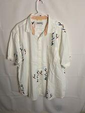 Mens XL Tommy Bahama Hawaiian Shirt Wood Button Up 100% Silk Floral Surfers