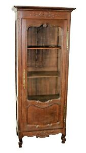Antique French Oak Louis XV glass display cabinet  bookcase Provincial