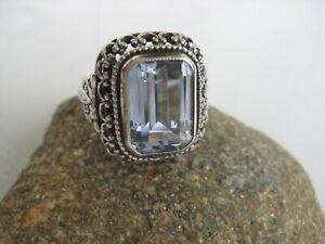 Art deco Ring 835 Silber mit Aquamarin, Innendurchmesser Ø 16,8 mm