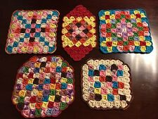 5 Crocheted Pot Holders Hot Pads Trivets Various Colors & Shapes