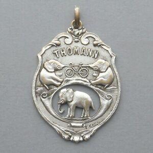 Médaille publicitaire, Vélo Thomann. Cycles, Bicyclettes, Motos, Eléphant.