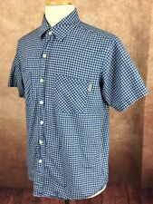 Carhartt Short Sleeve Button Front 100% Cotton Blue White Check Shirt Men's L