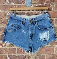 VTG 90s Wrangler 29 Daisy Dukes Shorts High Waisted Blue Frayed Denim Jeans