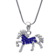 Royal Blue Horse Mustang Pony Stallion Pendant Necklace Girl Jewelry n2009rb