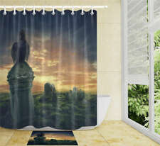 Size Statue Waterproof Bathroom Polyester Shower Curtain Liner Water Resistant