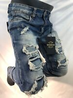 Mens Jean VICTORIOUS SKINNY LEG FIT BLUE DENIM ROCKER Rips DESTROYED DL1189 NWT