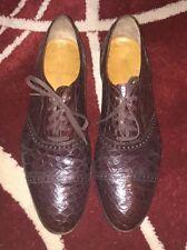 Rare Polo Ralph Lauren Brown Crocodile Alligator toe oxfords 11.5 Lace Up Shoes
