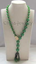 """P8116 -27"""" 10-16mm perfect round green jade & 4mm black onyx necklace - filled"""