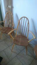 Pair of Blonde Ercol Vintage Retro Quaker Carver Chairs refurbished free postage